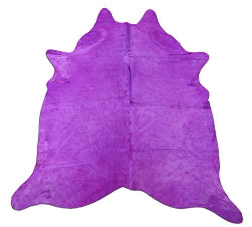 Purple Cowhide Rug Size: 7.4' X 6' Dyed Purple Cow Hide Skin Rug C-219 ()