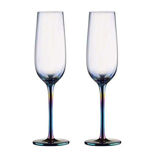 Artland Mirage Lustre Iridescent Champagne Flutes Glasses Set of 2 25cl -