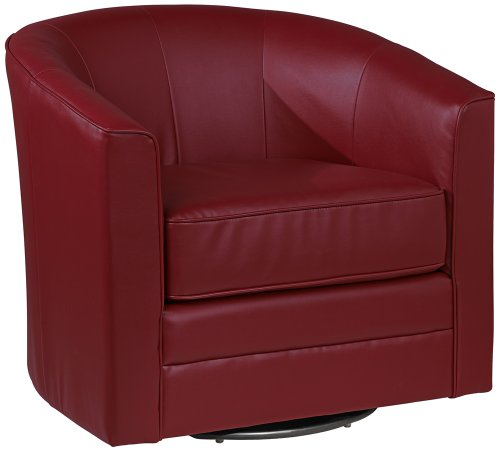 Keller Scarlet Red Bonded Leather Swivel Club Chair