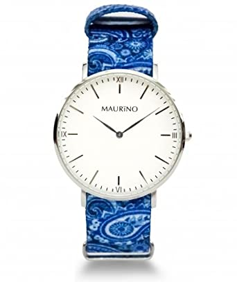 MAURINO Herren Armbanduhr Analog Quarz Textil Silber 40mm M01612