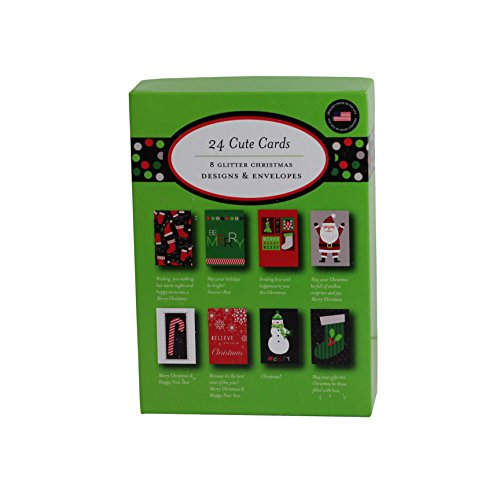 Christmas Holiday Boxed Cards Cute Xmas Box Set Greeting Cards with Glitter Designs and Envelopes (Whimsical)
