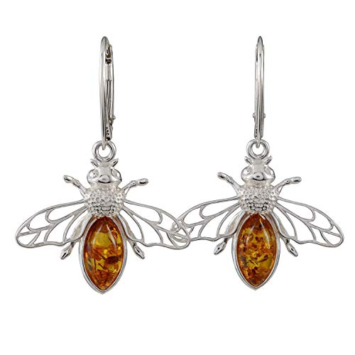 Sterling Silver and Baltic Honey Amber French Leverback Earrings