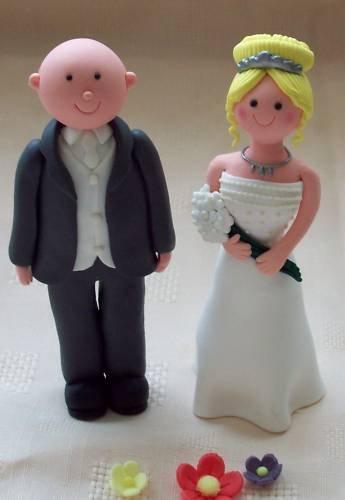 Blonde Bride Bald Groom Wedding Cake Topper Nonedible