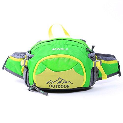 paquete al aire libre/Múltiples funciones impermeable a bolsillos de botella de agua/Mochila de montañismo-Rosa roja Pasto verde