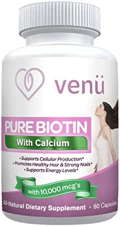 Venu Beauty Pure Biotin + Calcium Supplement All Natural Helps Promotes Skin, Hair and Nail Health Made in USA