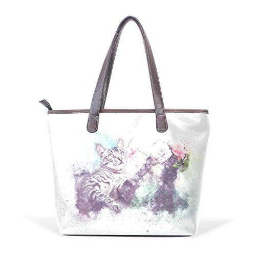 Coosun Frauen große Katze Pet Pu Leder Tote Handtasche Schultertasche
