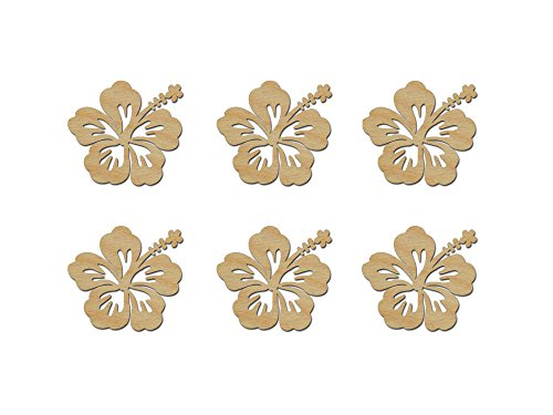 Hibiscus Flower Shape Wooden Craft Cut Outs 3