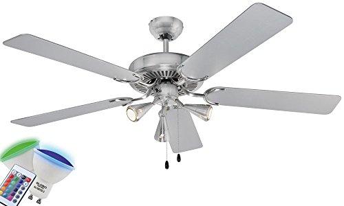Leiser AEG Decken Ventilator Kühler Leuchte Lüfter Lampe im Set inklusive 10,5 Watt RGB LED Leuchtmittel