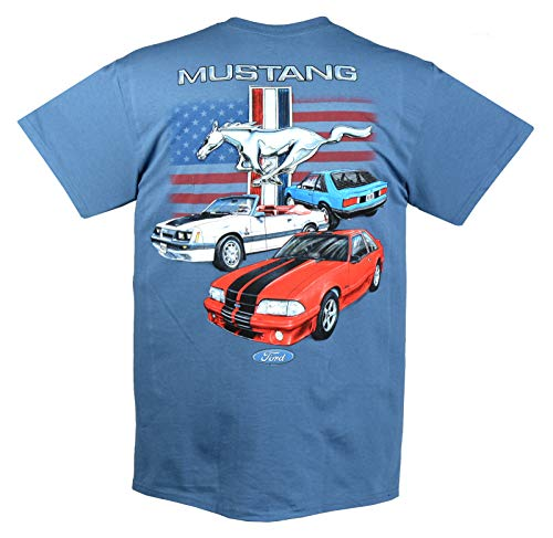 Joe Blow Ford Vintage Fox Body Mustang Flag T-shirt-large