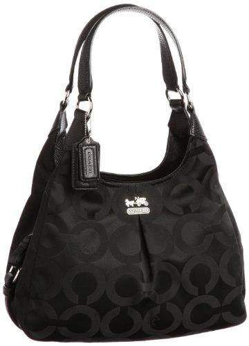 Coach Madison Op Art Maggie Hobo Handbag 21125 Black Lizard ...