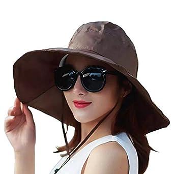 Women's Rain Hats Waterproof Rain Hat Wide Brim Bucket Hat Rain Cap Sun Hats YM001-BR