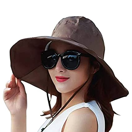 Women s Rain Hats Waterproof Rain Hat Wide Brim Bucket Hat Rain Cap Sun Hats  (Brown c4cd5b442ba