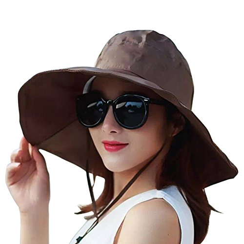 Women's Rain Hats Waterproof Rain Hat Wide Brim Bucket Hat Rain Cap Sun Hats (Brown)]()
