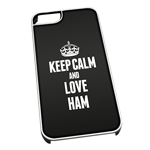 Bianco cover per iPhone 5/5S 1161 nero Keep Calm and Love Ham