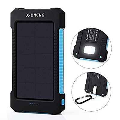 Solar Charger 10000mAh , X-DNENG Portable Solar Panel Power Bank External Battery Pack with Dual USB LED Light for iPhone iPad Samsung Android Cellphones Smartphones Tablets Emergency Camping Travel