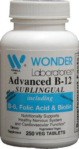 Sublingual Витамин B12 (1000 мкг), В6 (5 мг), фолиевая кислота (400 мкг) и биотин (25 мкг) - 250 подъязычных таблеток - Сформулированные с метилкобаламин витамина B-12.