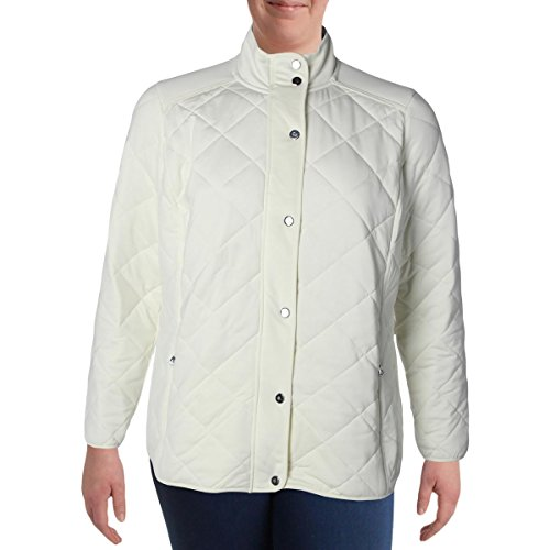 Lauren by Ralph Lauren Womens Plus Quilted Long Sleeve Basic Jacket Ivory - Cheap Ralph Lauren