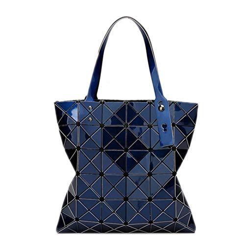 Blue 15 pieghevole colore geometrica Shopping Lattice bag Deep giapponese da donna Diamond SXPx17nq