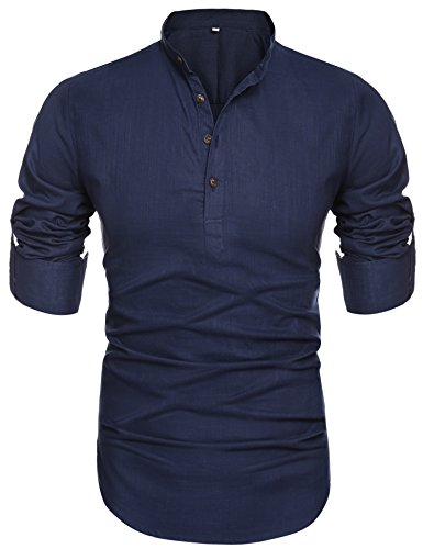 [Men's Collar Long Sleeve Loose Shirt Skyblue,Large] (Big And Tall Formal Wear)