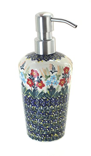 (Blue Rose Polish Pottery Garden Field Soap Dispenser)