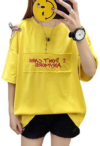 読みやすいブロッサム慈悲Foncaz レディース Tシャツ 半袖 ゆったり トップス ロゴ 英字 入り オーバー ファション カジュアル かわいい 大きいサイズ