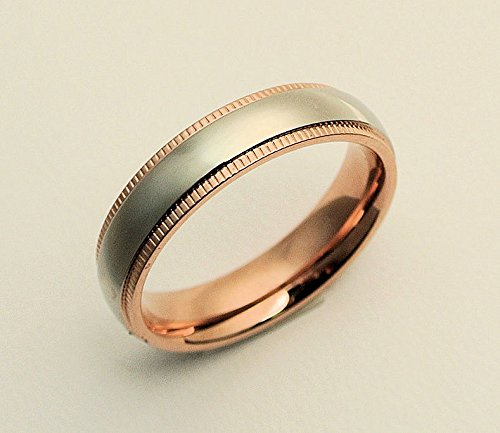 Anillo de plata personalizada con oro rosa Accent, juego de anillos de parejas, Compromiso Anillos, anillos de boda, bandas, juego de anillos, Promise Ring, ...
