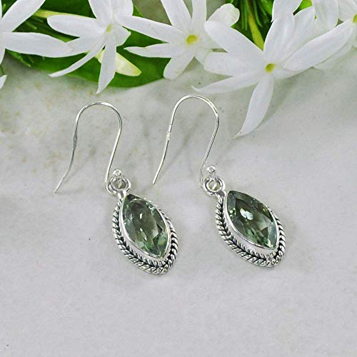 Sivalya 2.00 Ct Marquise Natural Green Amethyst Earrings in 925 Sterling Silver, Genuine Gemstone Solid Silver French Hook Dangle Earrings 1.25