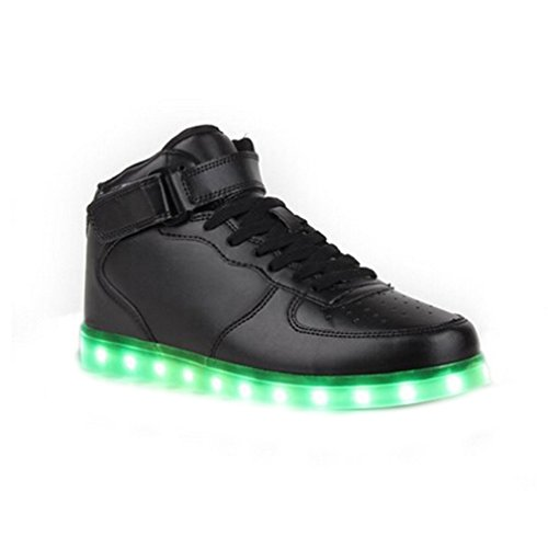 (Present:small towel)JUNGLEST® 8 Colors LED Light-Up Couple Womens Mens Sport Shoes Sneakers USB Charging for Valentines Day Chri Black High Top with Velcro