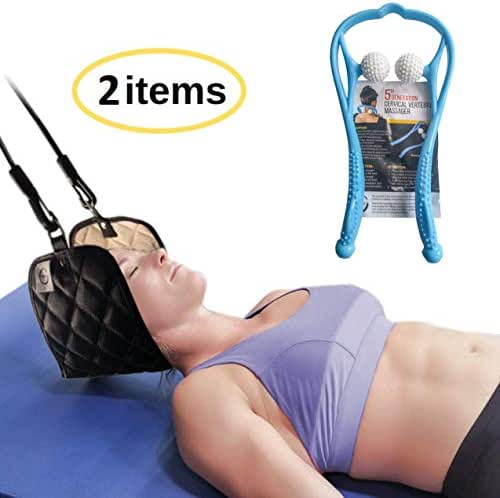 Durable Portable Head Hammock Plus Manual Pressure Point Massager Bundle - Cervical Neck Traction & Relaxation Sling | Self Massager | Office Workers, Drivers, and Anyone with Neck & Shoulder Pain