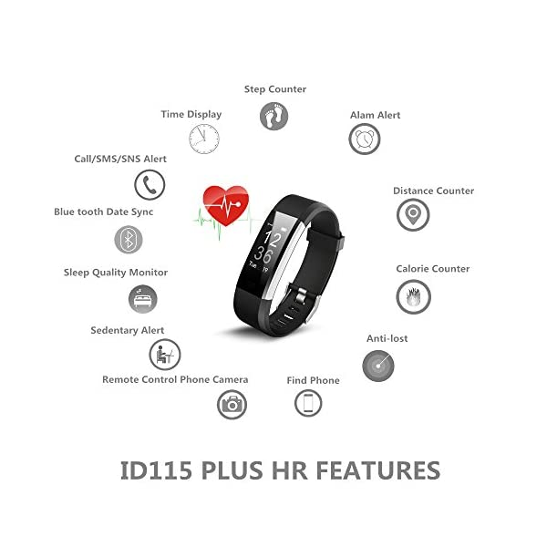 JKFIT ID115 HR PLUS Fitness Tracker Big OLED 0 96''Screen Fitness Tracker  Pedometer Smart Band Heart rate monitor with Extra free interchaneable Band