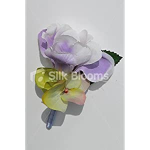 Beautiful Silk Artificial Purple Iris and Hydrangea Wedding Buttonhole 1