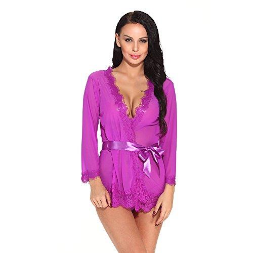- AryaLove Women's Lace Kimono Robe Mesh Chemise Nightgown V Neck Babydoll Lingerie Sleepwear Purple Size M