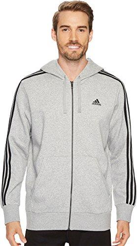 adidas Men's Essentials 3-Stripe Full Zip Fleece Hoodie, Medium Grey Heather/Black, Large
