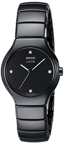 Rado Women's R27655742 True Jubile Analog Display Swiss Quartz Black Watch (Rado Watches Women Jubile)