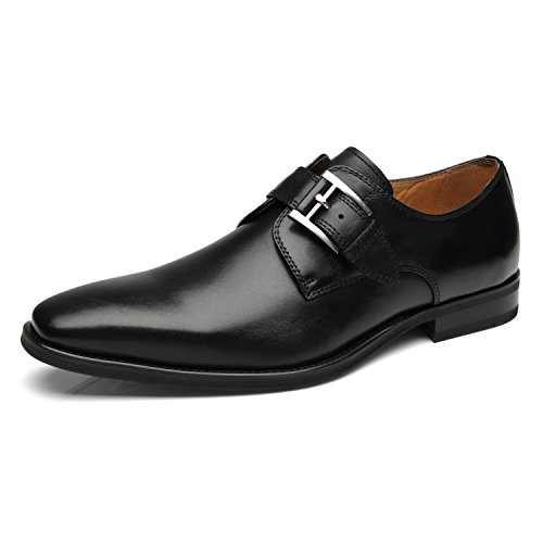 La Milano Mens Plain Toe Single Monk Strap Slip on Loafers Leather Oxford Modern Formal Business Dress Shoes (Black Leather Slip On Shoes For Men)