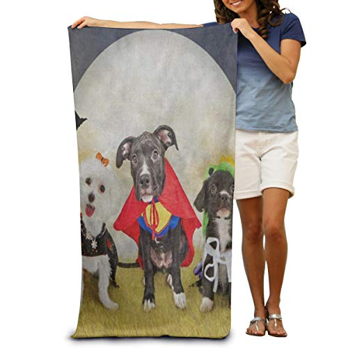 OUTOST Super Soft Bath Towel Hipster Puppy Dog Dressed in Halloween Costumes Quick-Drying Beach Towel Travel Blanket Swimming Spa Towel Large Size 80 cm X 130 -