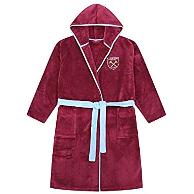 West Ham United FC Official Gift Mens Hooded Fleece Dressing Gown Robe