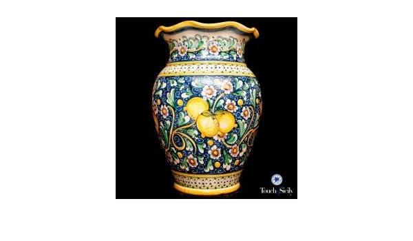 Toque de Sicilia, italiano, florero de cerámica hecha a mano paraguas con limones.: Amazon.es: Hogar
