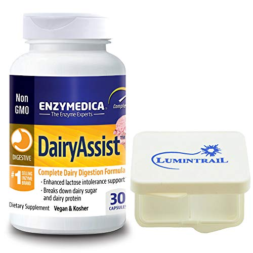 (Enzymedica - Dairy Assist, Complete Dairy Digestive Enzyme Formula, 30 Capsules Bundle with Lumintrail Pill Case)