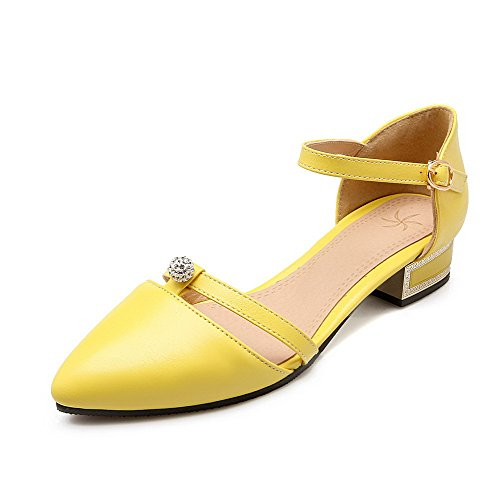 AmoonyFashion Women's Buckle Blend Materials Pointed Closed Toe Low Heels Solid Pumps Shoes, Yellow, - Mall Oklahoma In