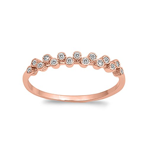 Eternity Half Bezel Band (Blue Apple Co. 3mm Half Eternity Wedding Engagement Band Ring Bezel Round CZ Rose Tone 925 Sterling Silver)