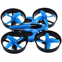 Mini Butterball JJRC H36 Headless Mode 2Speed Modes Remote Control Rc Quadcopter with LED Lights & One Key Return 2.4G 4CH 6 Axis Mini Drone Blue
