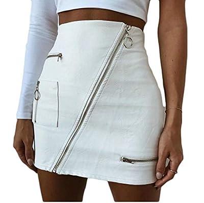 Generic Womens Faux Leather High Waist Diagonal Zipper Bodycon Mini Pencil Skirt