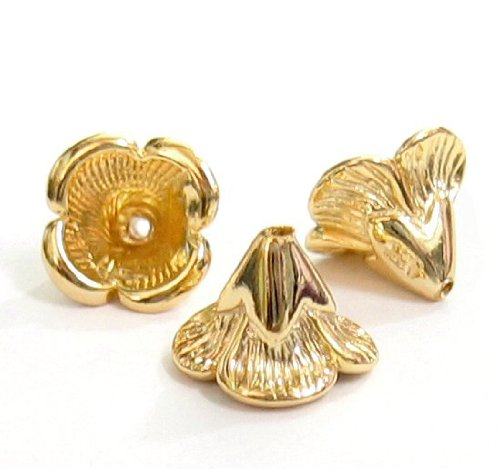 2 pcs 14k Gold Plated Over .925 Sterling Silver 6.5m X 9mm Bead Flower Cone Cap / Findings / Yellow (14k Yellow Gold End Cap)