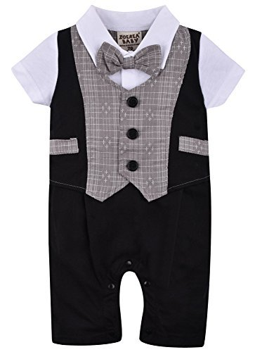 ZOEREA Baby Boy Gentleman Rompers Striped Toddler Suit 2pcs Outfit Wedding (Label 70/Age 0-6 Months, Black 1) -