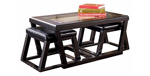 Ashley Furniture Signature Design – Kelton Coffee Table with 2 Stools – Cocktail Hei ...