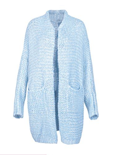 Powder Blue Wool (Glamaker Women's Casual Open Front Long Cardigan Knit Sweater with Long Sleeves (one Size, Light Blue))