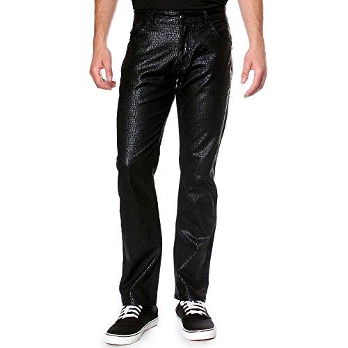 Embossed Shiny Snake - RNZ PREMIUM R520 Men's ShimmeringCrocodile Embossed Slim Fit Pants 34W, Black