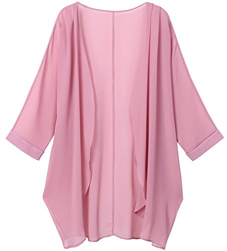 Tribear Women's Sheer Chiffon Kimono Cardigan Solid Casual Capes Beach Cover up (Medium, New Pink)