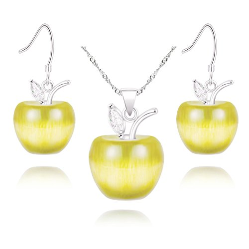 Uloveido Yellow Apple Earrings and Necklace Set Platinum Plated for Women - Yellow Cubic Zirconia Crystal Apple Wedding Jewelry Set for Girlfriend Gift YL007 (Platinum Wedding Set Jewelry)